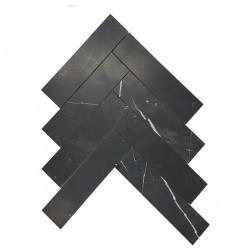 Nero Marquina Herringbone Honed Marble Mosaic 200x50