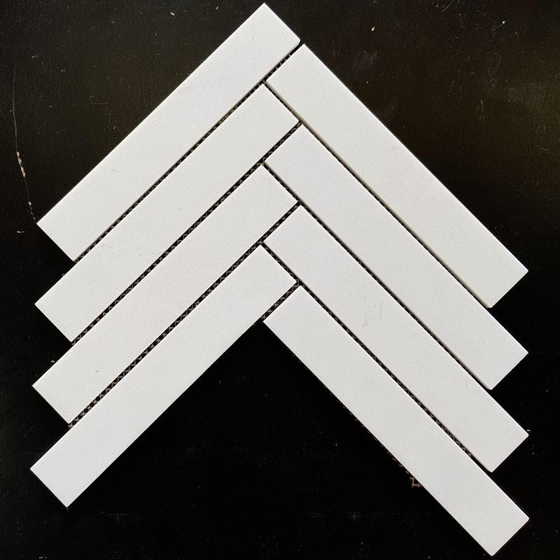 White Herringbone Honed Marble Mosaic 229x39