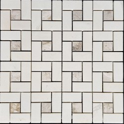 Windmill White And Grey Dot Honed Marble Mosaic 48x28