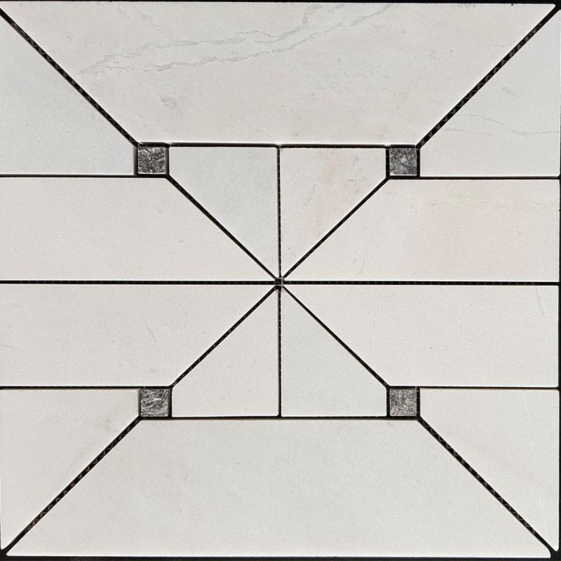 Mayan White And Grey Dot Honed Marble Mosaic