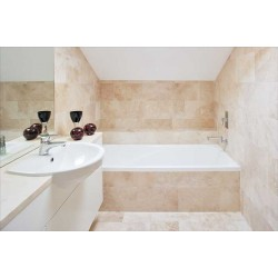 Travertine Classico Pompeii Tiles Cross Cut - Unfilled & Honed - Medium Shade