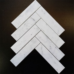 Carrara Herringbone Honed Marble Mosaic 200x50