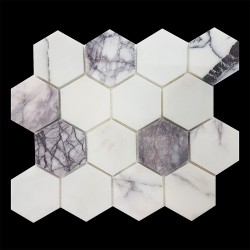 New York Hexagon Honed Marble Mosaic 70x70