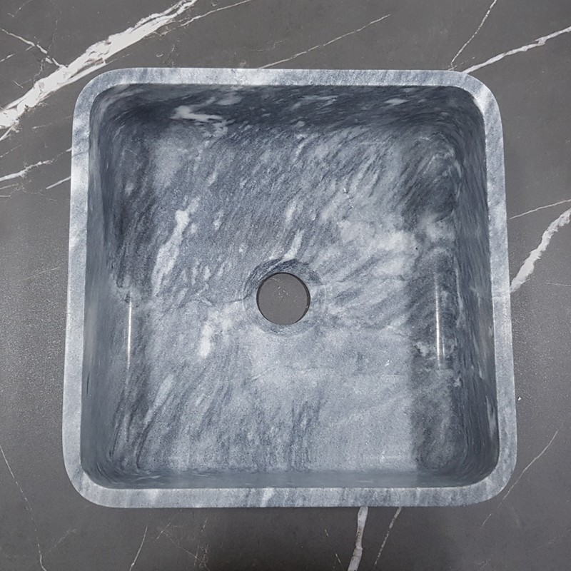 Crystal Grey Honed Square Basin Marble