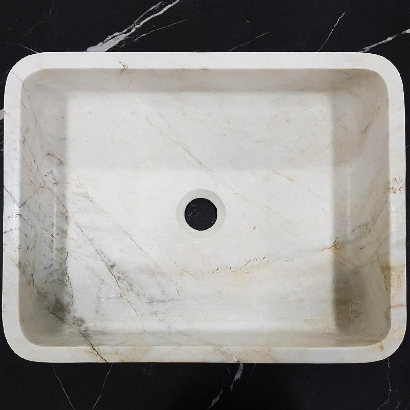 Bianca Luminous Honed Rectangle Basin Marble