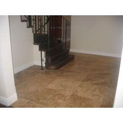 Travertine Noce Brown Tiles - Cross Cut - Unfilled & Honed