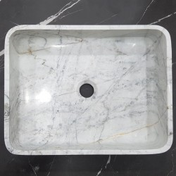 Persian White Honed Rectangle Basin Marble