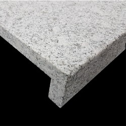 Diamond White Flamed Rebated Pencil Round Step Tread Granite