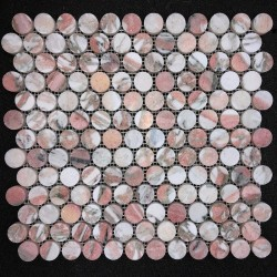 Norwegian Rose Penny Round Honed Marble Mosaic 23x23