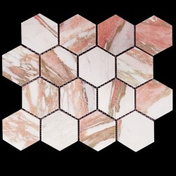 Norwegian Rose Hexagon Honed Marble Mosaic 70x70