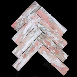 Norwegian Rose Herringbone Honed Marble Mosaic 200x50