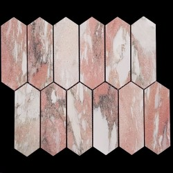 Norwegian Rose Picket Honed Marble Mosaic