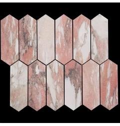 Norwegian Rose Picket Honed Marble Mosaic