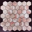 Norwegian Rose Hexagon Honed Marble Mosaic 48X48