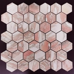 Norwegian Rose Hexagon Honed Marble Mosaic 48X48