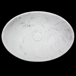 Carrara Honed Oval Marble Basin