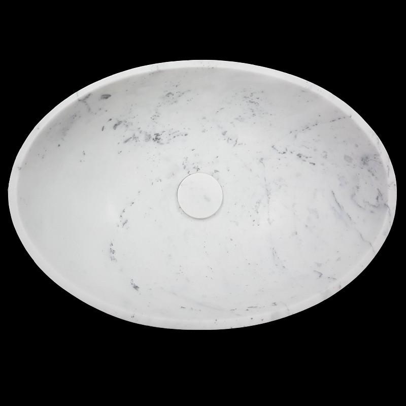 Carrara Honed Oval Basin Marble