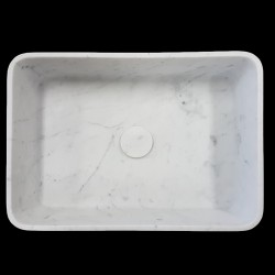 Carrara Honed Rectangle Marble Basin