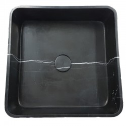 Nero Marquina Honed Square Marble Basin
