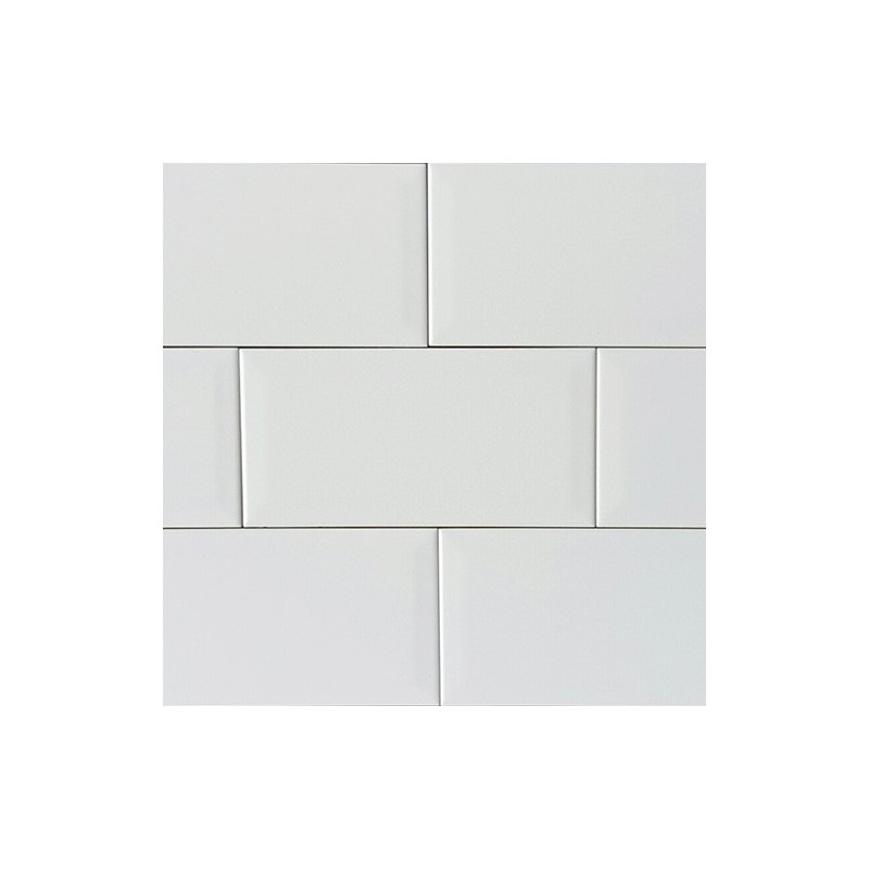 Spanish White Matt Bevelled Subway Ceramic 200x100