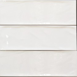 White Gloss Wavy Non-Rectified Subway Ceramic 300x100