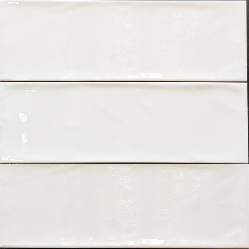 White Gloss Wavy Non-Rectified Subway Ceramic 300x100