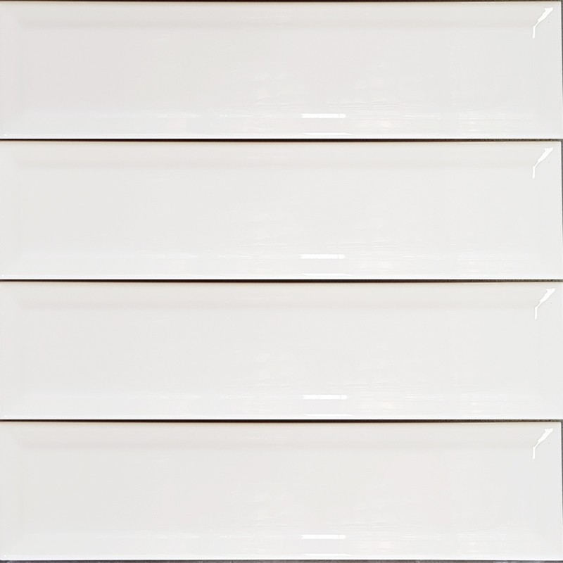 White Gloss Bevelled Non-Rectified Subway Ceramic 300x75