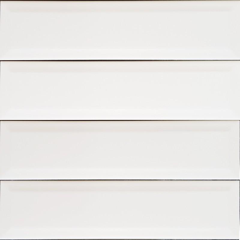 White Matt Bevelled Non-Rectified Subway Ceramic 300x75