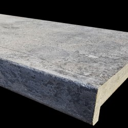 Atlantic Grigio Antique Rebated Pencil Edge Step Tread Limestone