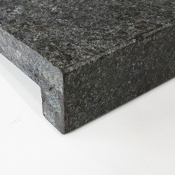 Diamond Black Flamed Rebated Pencil Round Step Tread Granite