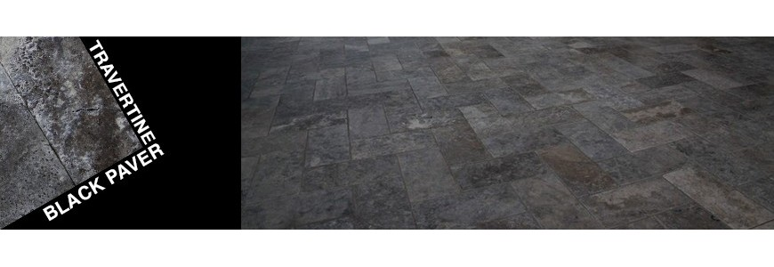 Travertine Black Stone Paver | Outdoor Paving Stone